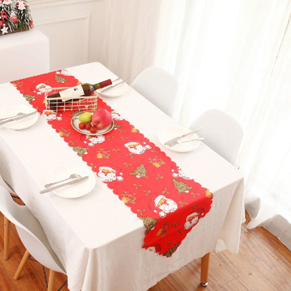 1Pc Christmas Dining Table Runner Xmas Wedding Champagne Table Flag Christmas Decoration For Home Restaurant Dining Tablecloth