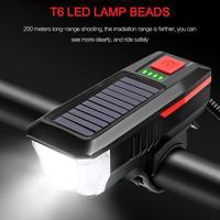 Caldo!!! Nuova luce solare ricaricabile USB a doppia ricarica per bicicletta luce anteriore per bici impermeabile + faro per bicicletta da esterno a tromba