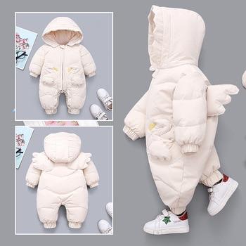 OLEKID 2020 Winter Baby Girls Romper Hooded Angel Wings Newborn Snowsuit Plus Velvet Warm Toddler Girls Jumpsuit Infant Overalls