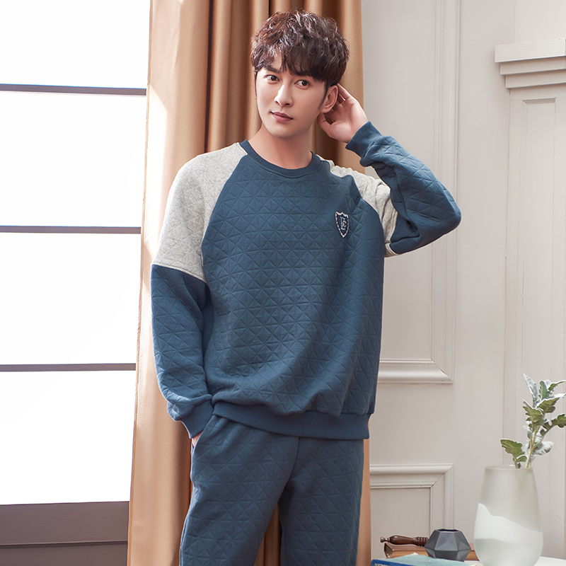 Winter Thick Warm Blue Quilted Pajama Sets For Men Long Sleeve Air Cotton Interlayer Sleepwear Loungewear Homewear Home Clothes