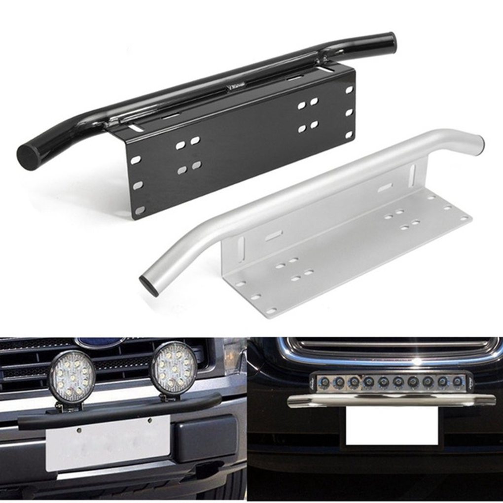Universal Auto Bull Bar Front Bumper License Plate Tail Light Mount Bracket Holder for Car Off Road Silver Aluminum
