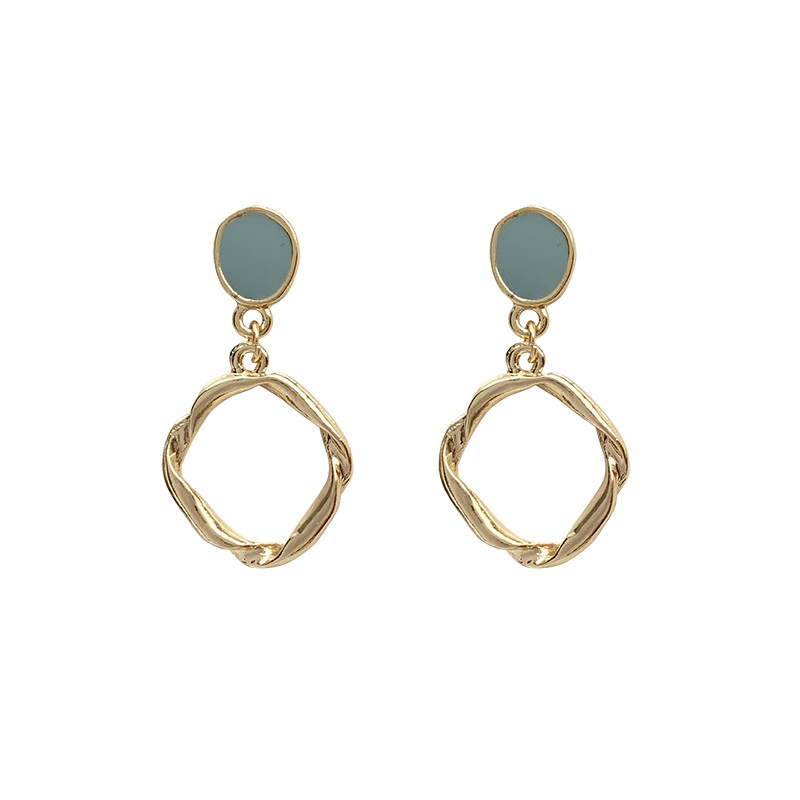 Fashion Temperament contracted twist flower earrings minimalist style irregular hollow metal circle stud earrings women jewelry