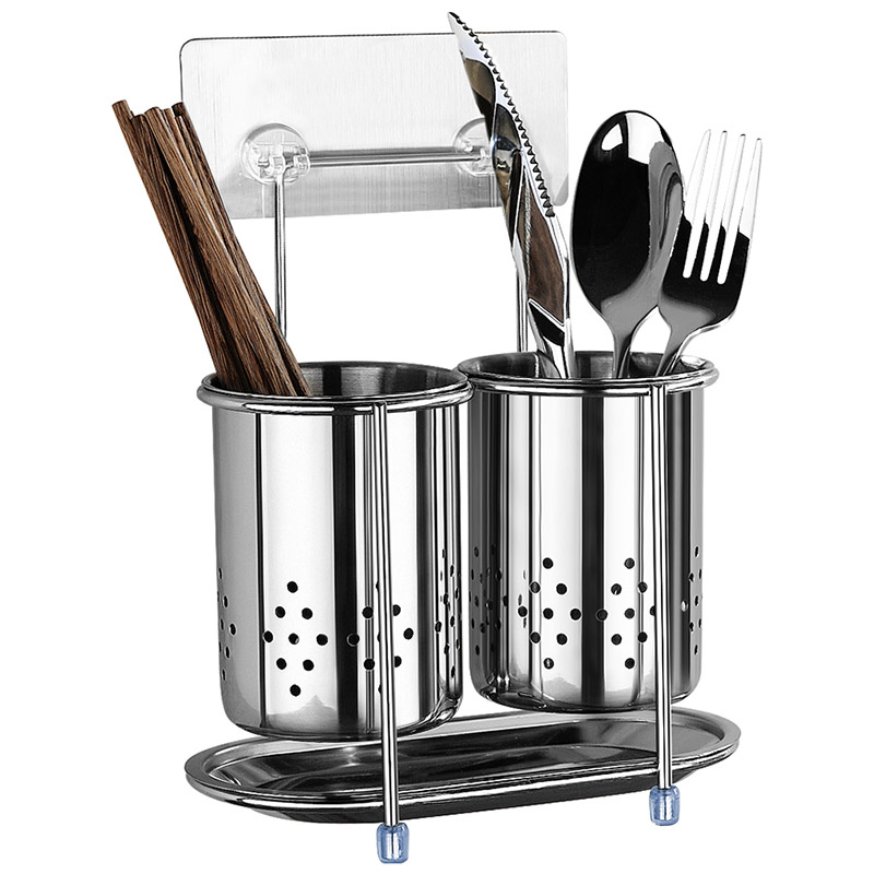 Cutlery Stand Rack Holder Knive Fork Spoon Stainless Steel Round Kitchen Utensil