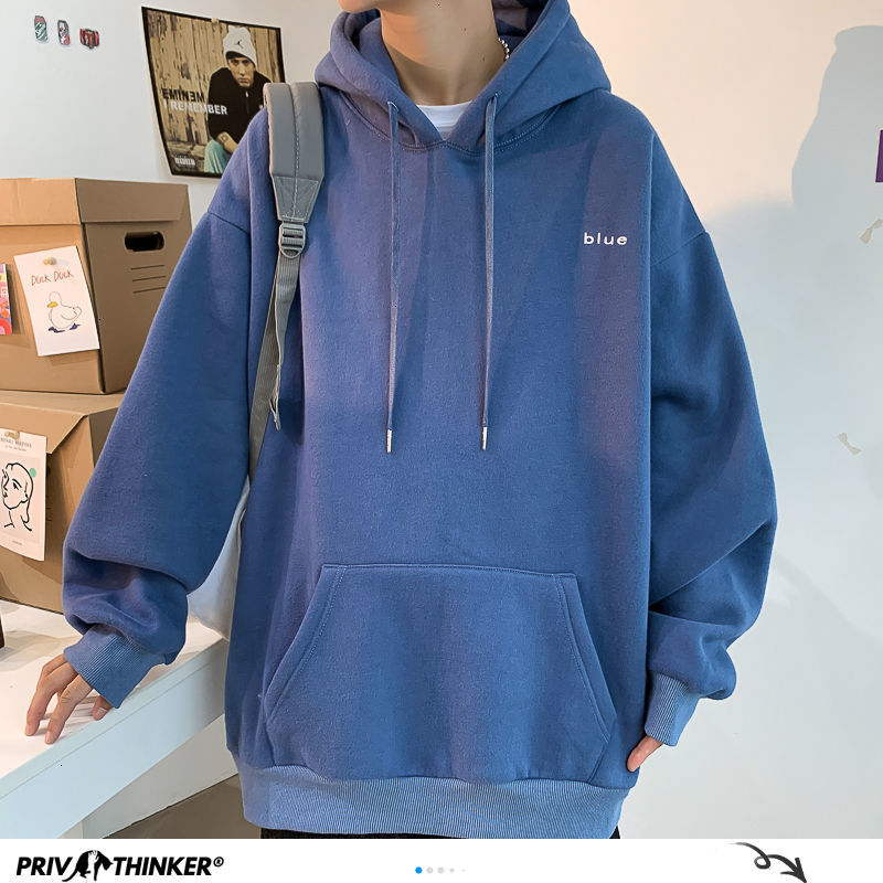 Privathinker Korean Letter Embroidery Men Hoodies Autumn Winter Warm Thicken Man Casual Hooded Sweatshirts Plus Size Pullovers