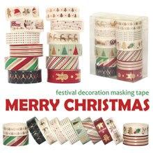 12 개/대 크리스마스 Washi 테이프 눈송이 순록 줄무늬 Kawaii 마스킹 테이프 스티커 편지지 Scrapbooking 학교 용품