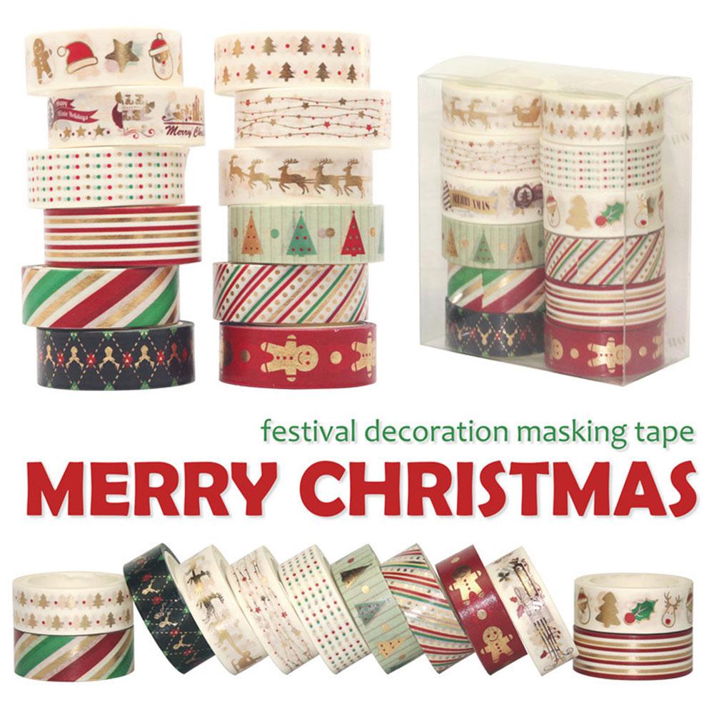 12Pcs/Set Christmas Washi Tapes Snowflake Reindeer Stripes Kawaii Masking Tapes Stickers Stationery Scrapbooking School Supplies