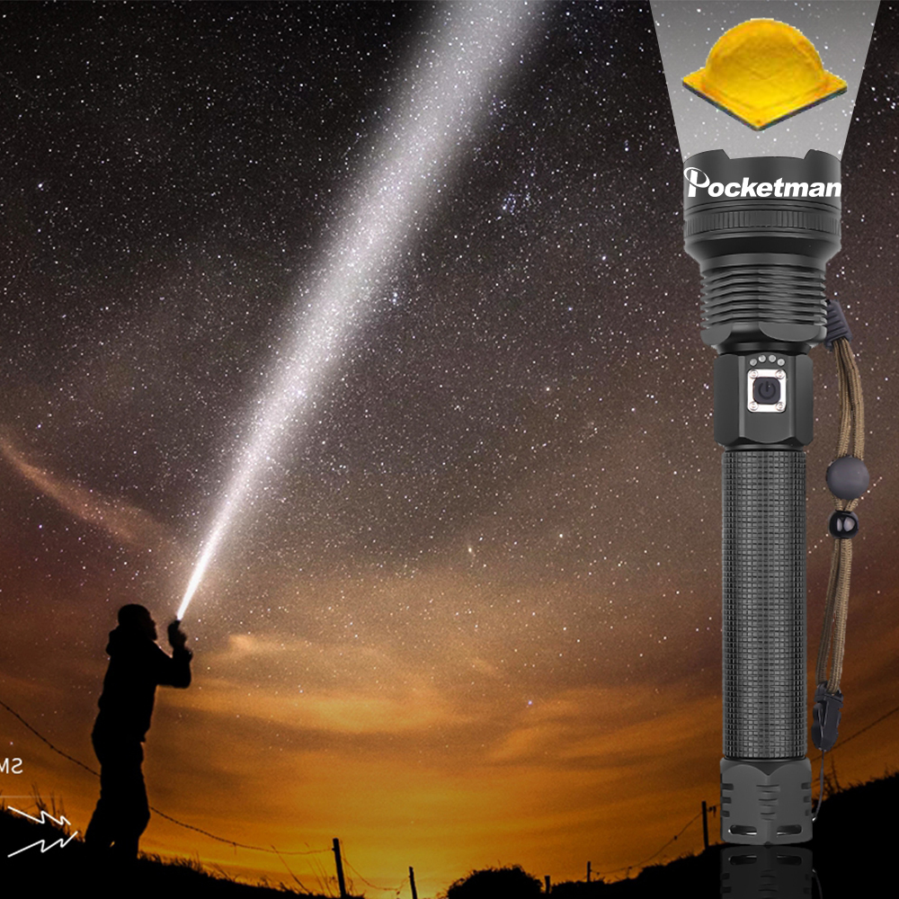 96% Brightness XHP70.2 LED Torch Tactical Flashlights Zoom Long-range Flashlight Lantern Use 18650/26550 Battery Camping Hunting