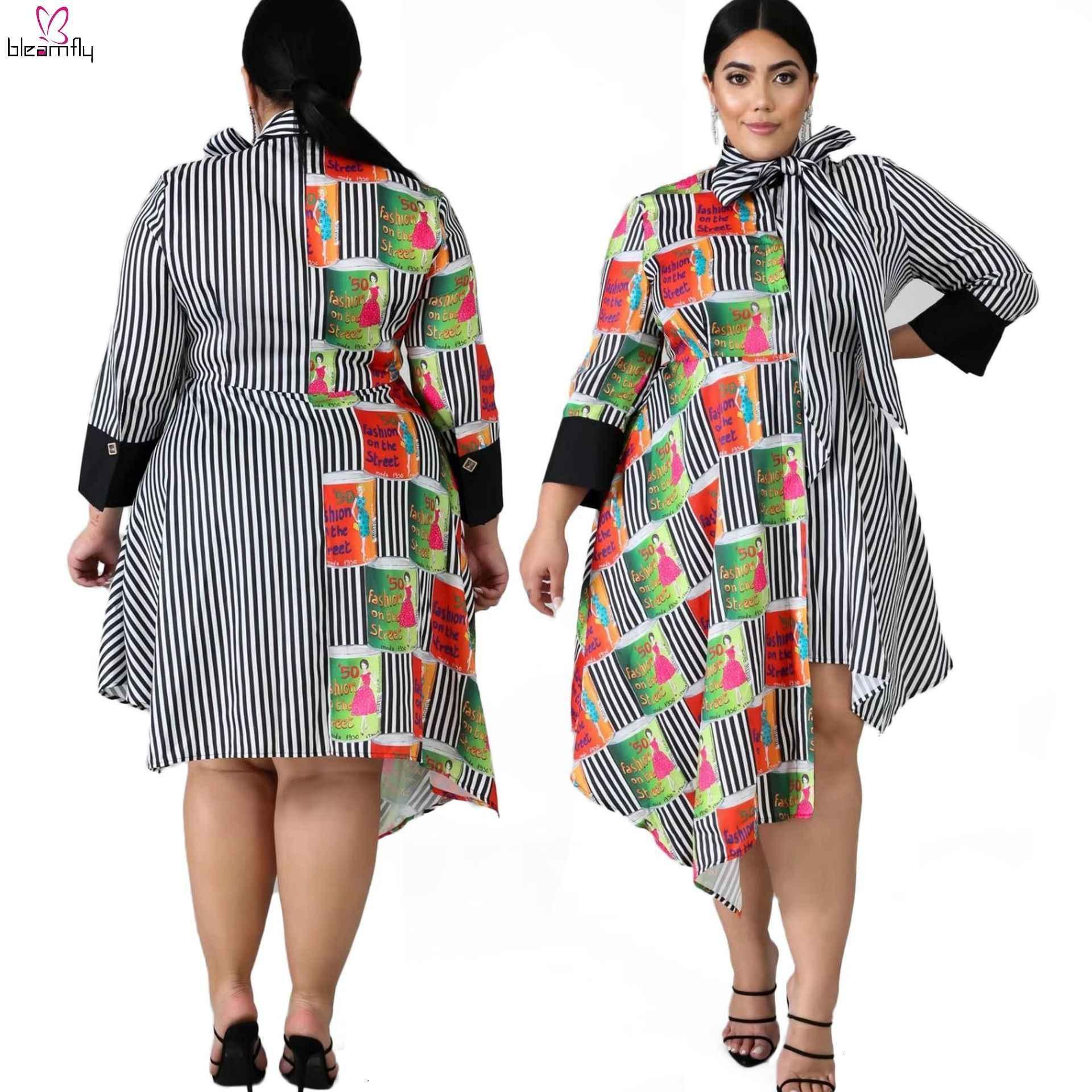 5XL 6XL vestido africano de talla grande para mujer Vestido de manga larga con cuello de lazo vestido de rayas con estampado de retazos Vestidos asimétricos ropa