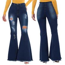 Moda Plus rozmiar dżinsy Distressed Zipper Fly kieszenie z dziurami dopasowane dżinsy damskie letnie dżinsy z wysokim stanem Sexy dżinsy dla mamy tanie tanio U-SWEAR COTTON Pełnej długości Osób w wieku 18-35 lat Jeans Pani urząd Zmiękczania Wysoka HOLE Zgrywanie Spodnie pochodni