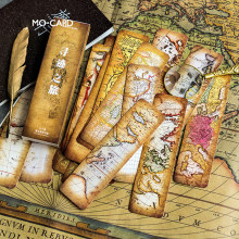 30 Pieces/Set Vintage Retro Map Design Bookmarks Paper Book Reading Maker Page Student School Office Stationery Supplies