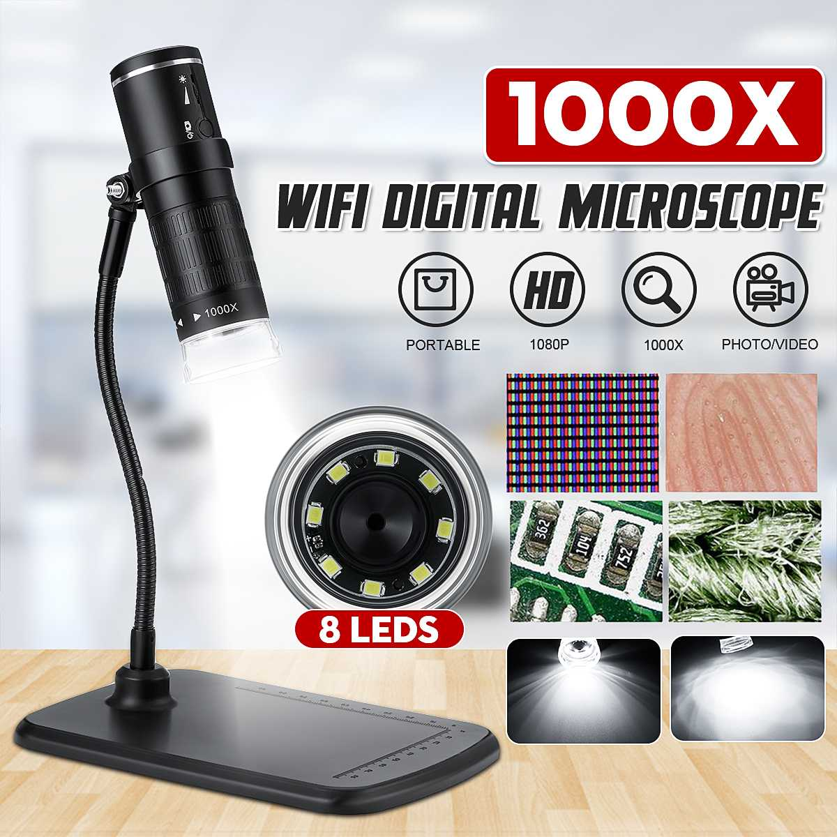 1000x 2MP Handheld WiFi Digital Microscope Portable HD 1080P USB Microscope Camera with Snake-Tube-Bracket SwitchFor IOS Android