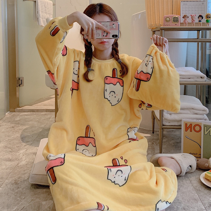 [According Feminine] Flannel 240 Grams 283 # Ice Cream Nightgown [Send Storage Bag] M-XL With Visual