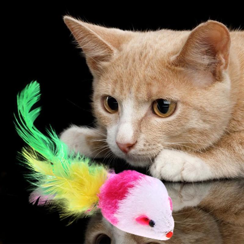 1 Uds suave de lana falsa gatito gato juguete del ratón colorido divertido juguetes para gatos gatito interactivo Bola de juguete para gato Catnip