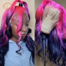 Парик из натуральных человеческих волос с эффектом омбре, розовый, фиолетовый, волнистый, 13X4, плотность 180%, 2 оттенка
