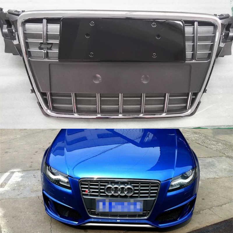 A4 B8 修正された S4 スタイルクロームグレーフロントバンパーエンジングリルグリッドアウディ A4 S4 RS4 sline 2009 2010 2011 2012
