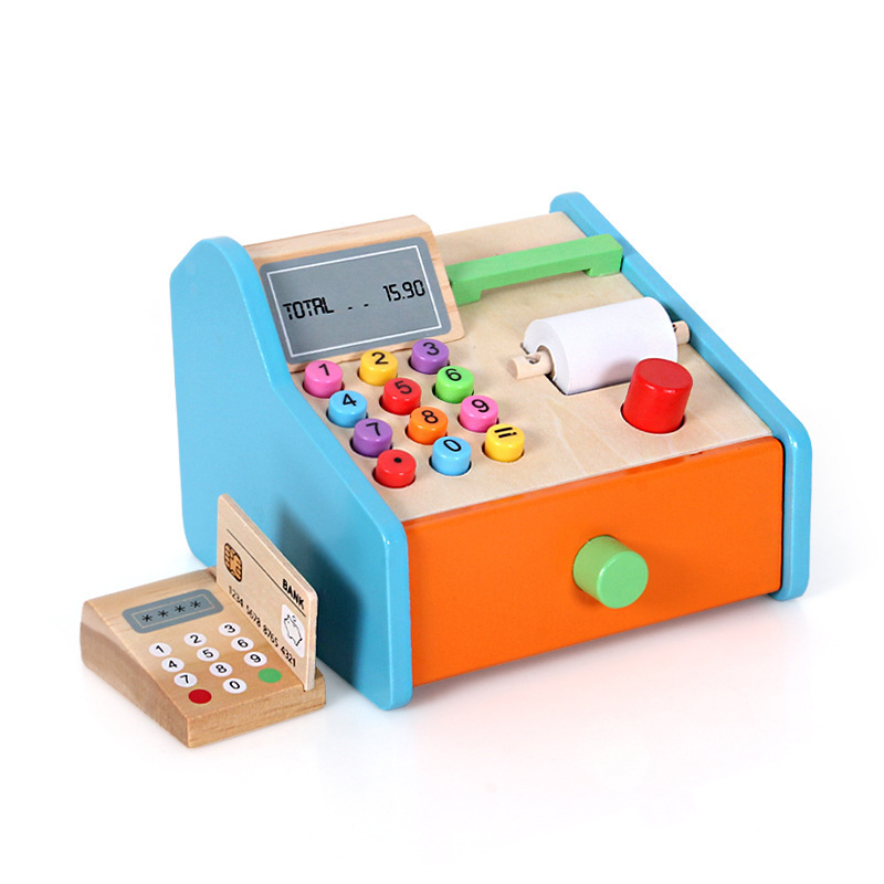 2020 New Arrivel Simulated Montessori Wooden Pretend Role-Playing Supermarket Cashier Educational Preshcool Toys For Kids Gift
