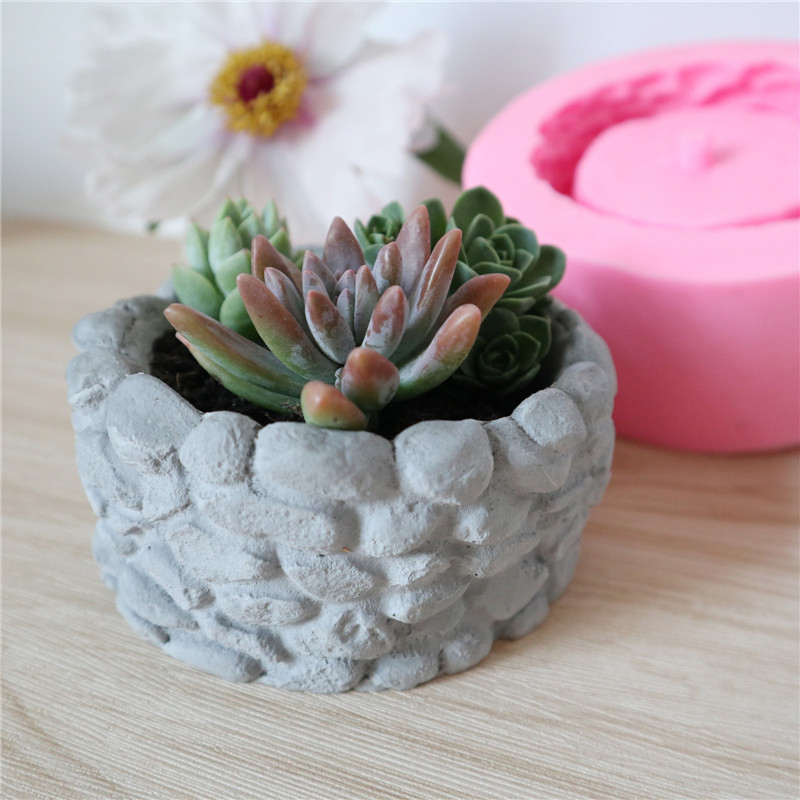 DIY Handmade <font><b>Flower</b></font> Pot Cement Silicone <font><b>Mold</b></font> Round Concrete <font><b>Flower</b></font> Pot <font><b>Vase</b></font> Mould Office Decoration Clay Cementsilica Mould image