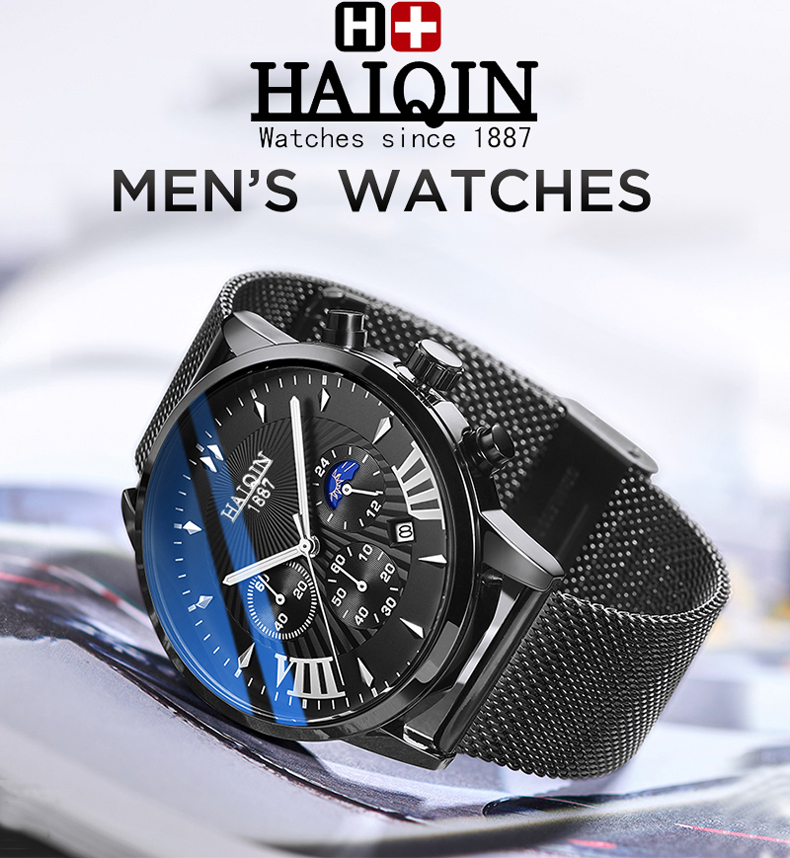 H714c17023f9944bd9940d949b567fbf1g HAIQIN 2019 Fashion Mechanical mens watches top brand luxury sport wristwatch men waterproof Quartz mens clock Relogio Masculino
