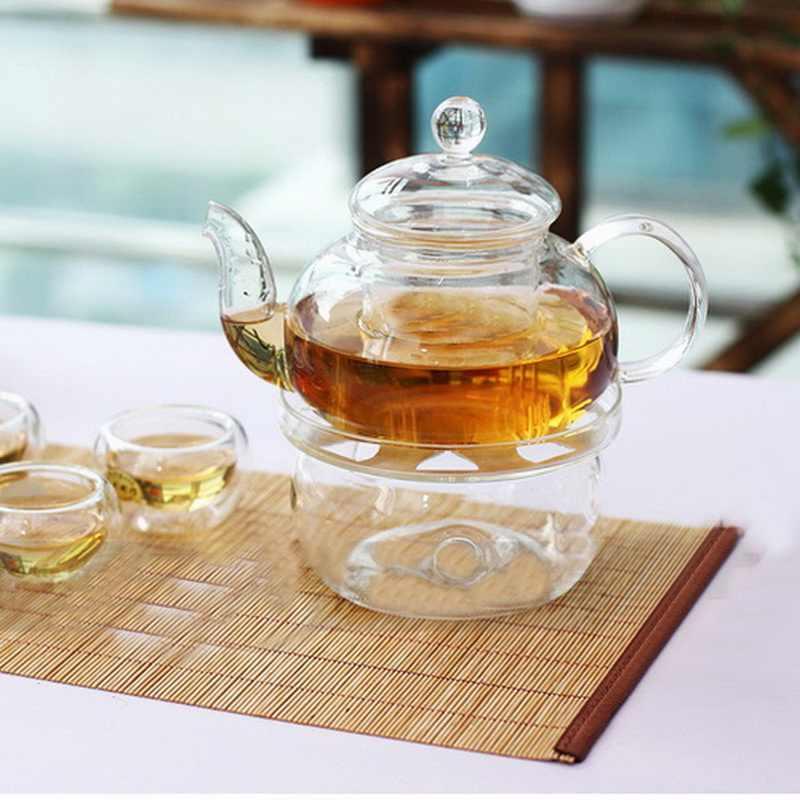 Heat-Resisting Teapot Warmer Base Glass Round Insulation Tealight Teapot Holder