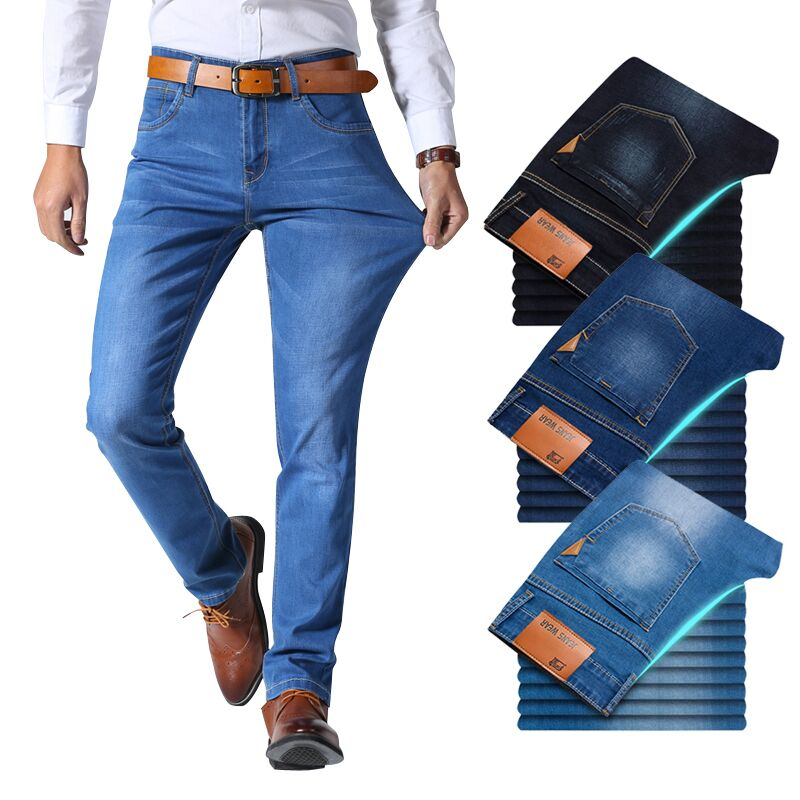 Denim Pants Trousers Light-Blue Stretch Classic-Style Slim Brand Jeans Black Male Men