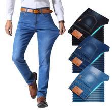 Hermano Wang estilo clásico pantalones vaqueros de marca para hombres Casual de negocios de vaquera de corte Slim elástico pantalones luz azul negro Pantalones Hombre