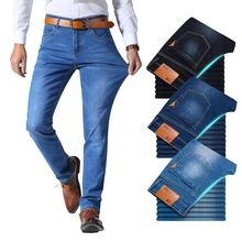 Irmão wang estilo clássico dos homens marca jeans negócios casual estiramento calças de brim fino azul claro preto masculino