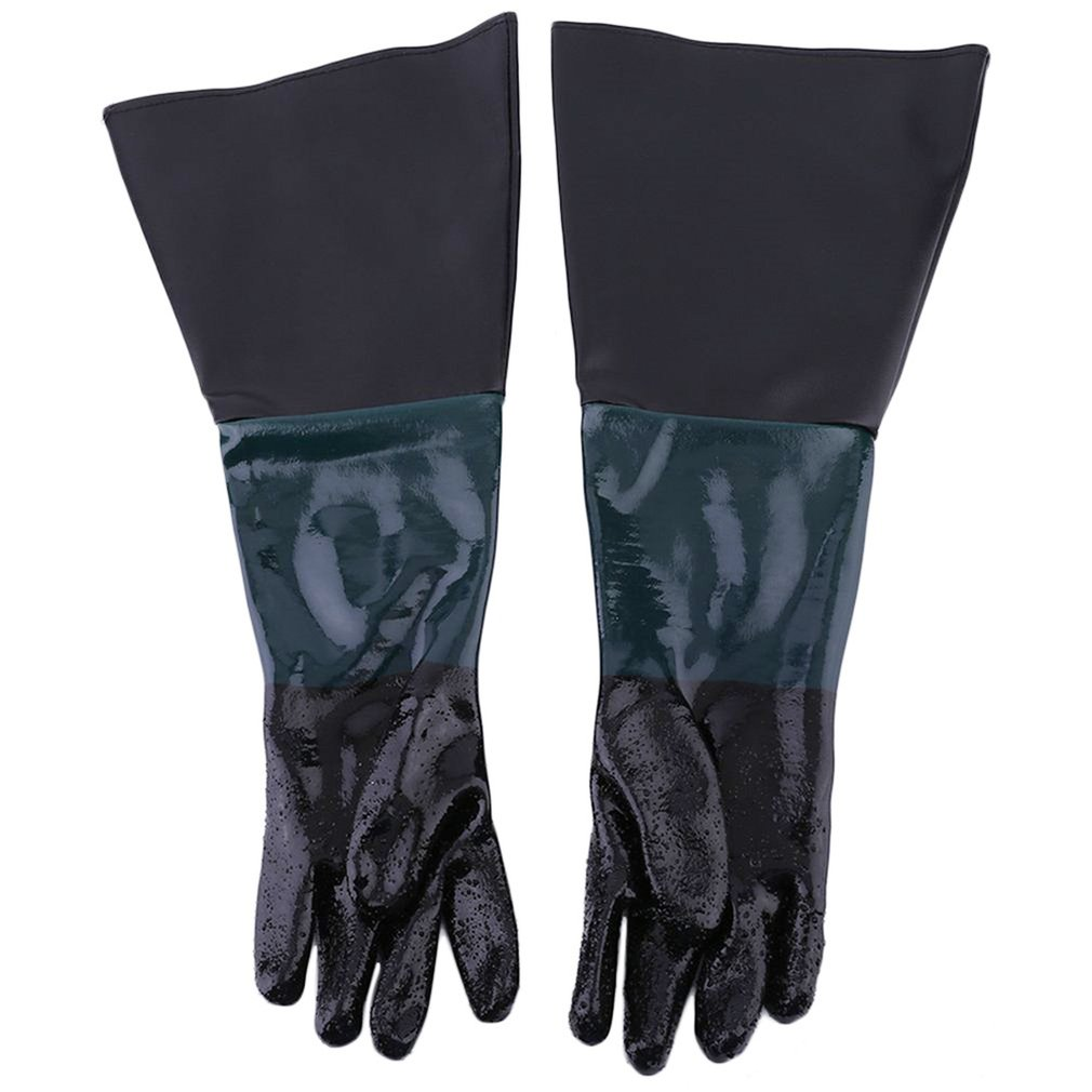 60cm PVC Gloves Soft Comfortable Sandblasting Machine Gloves For Sandblaster Cabinet Anti-slip Labour Protection Gloves