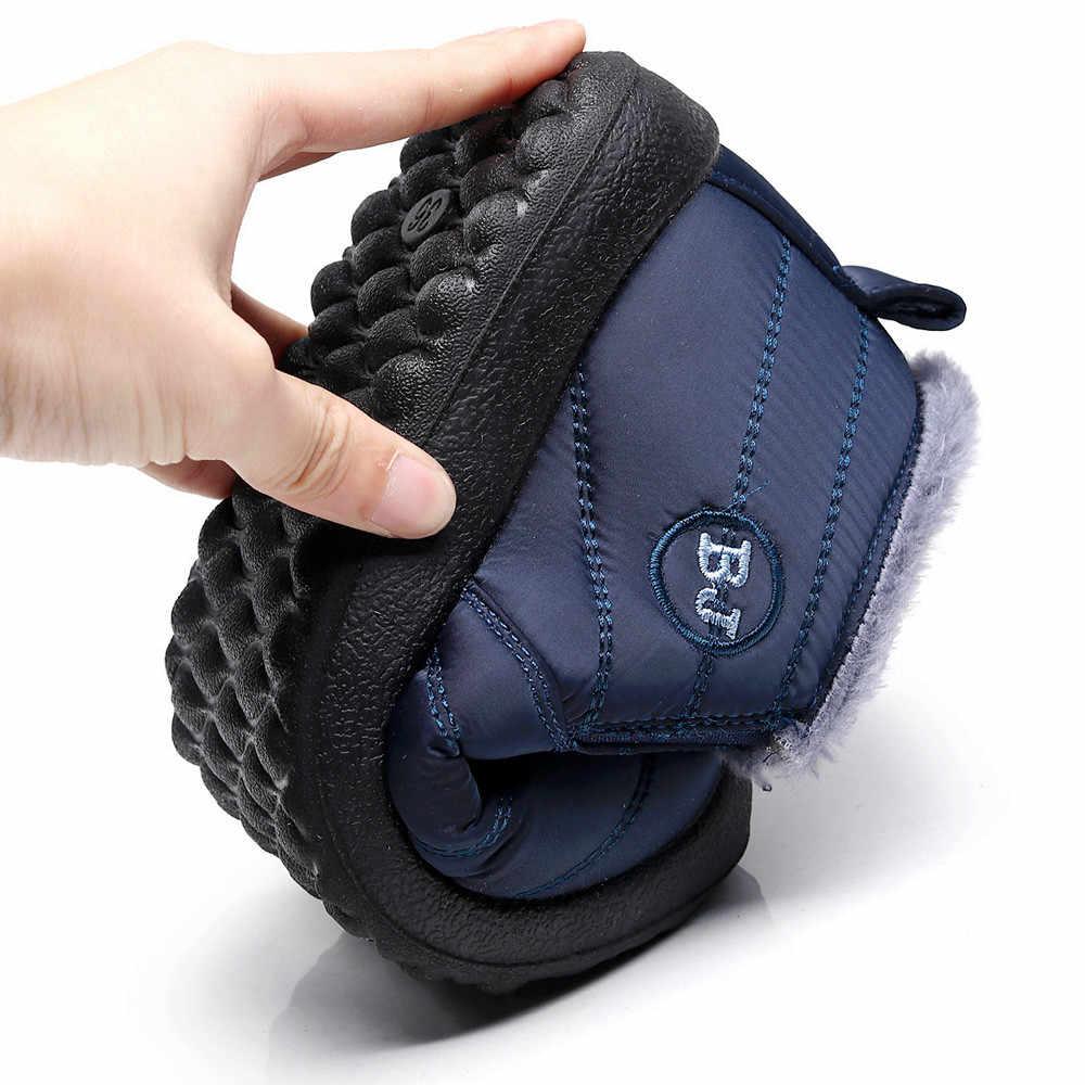 2019 botas de nieve impermeables con base antideslizante para mujer botas de felpa interior de invierno de color sólido zapatos de mujer de talla grande # YL5