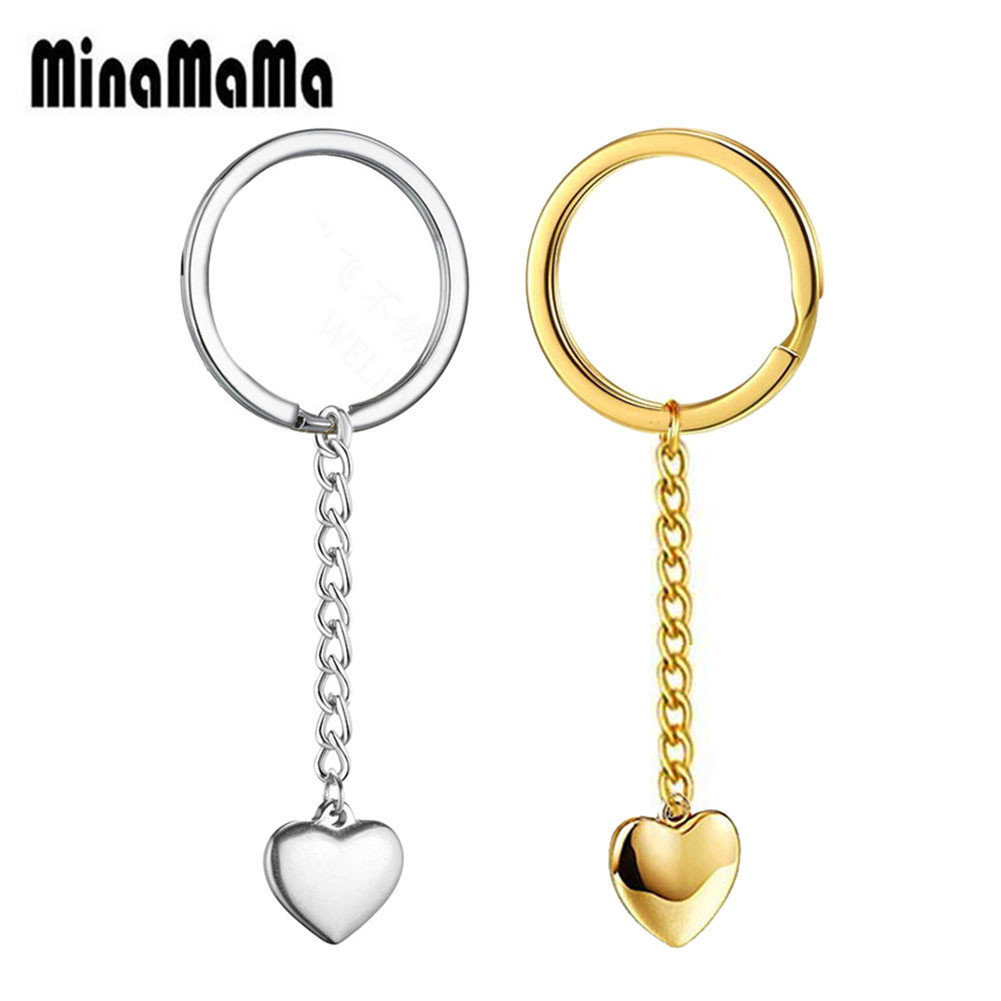 Stainless Steel Personalized Stamped Keychain Love Heart Keyring Dad Mom Gifts Keys Tag Charm Husband Boyfriend Gifts Keys(China)