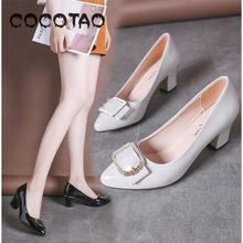 The New 2019 Spring And Autumn Period Thick With Career High Shallow Joker Pointed Mouth Single Woman Shoes36