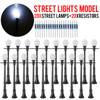 NEW 10Set LCX04 Model LED Street Light Lamppost HO Scale LEDs W/Resistors for Model Park Scenery Decorations