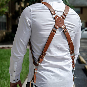 Image 3 - Camera Strap Leather Double Shoulder Strap  Harness Camera Shoulder Strap Photography Accessories
