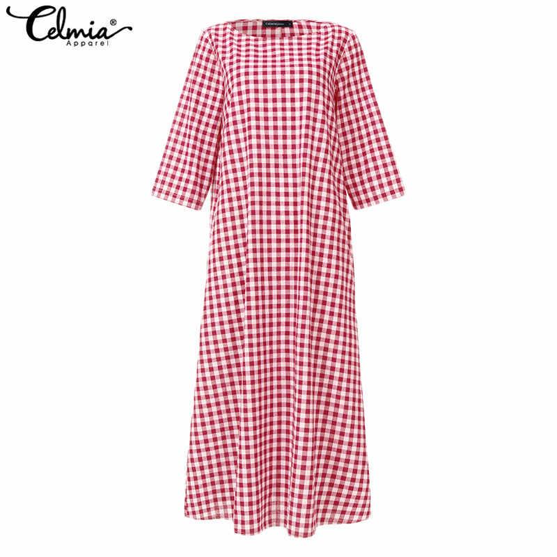 Женское винтажное платье-рубашка 2019, богемное платье с расклешенными рукавами, повседневное клетчатое платье, женское Свободное длинное платье макси, S-5XL