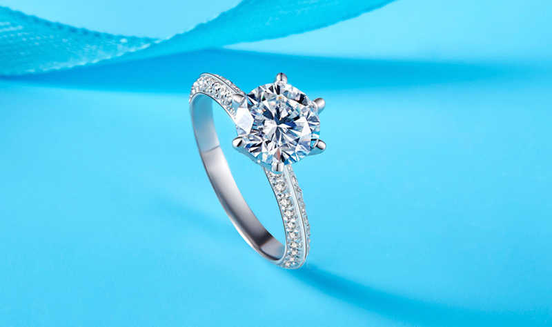 Yanhui高級2.0ctラボダイヤモンドの結婚婚約指輪花嫁100% リアル925スターリングシルバーリング女性ファインジュエリーRX279