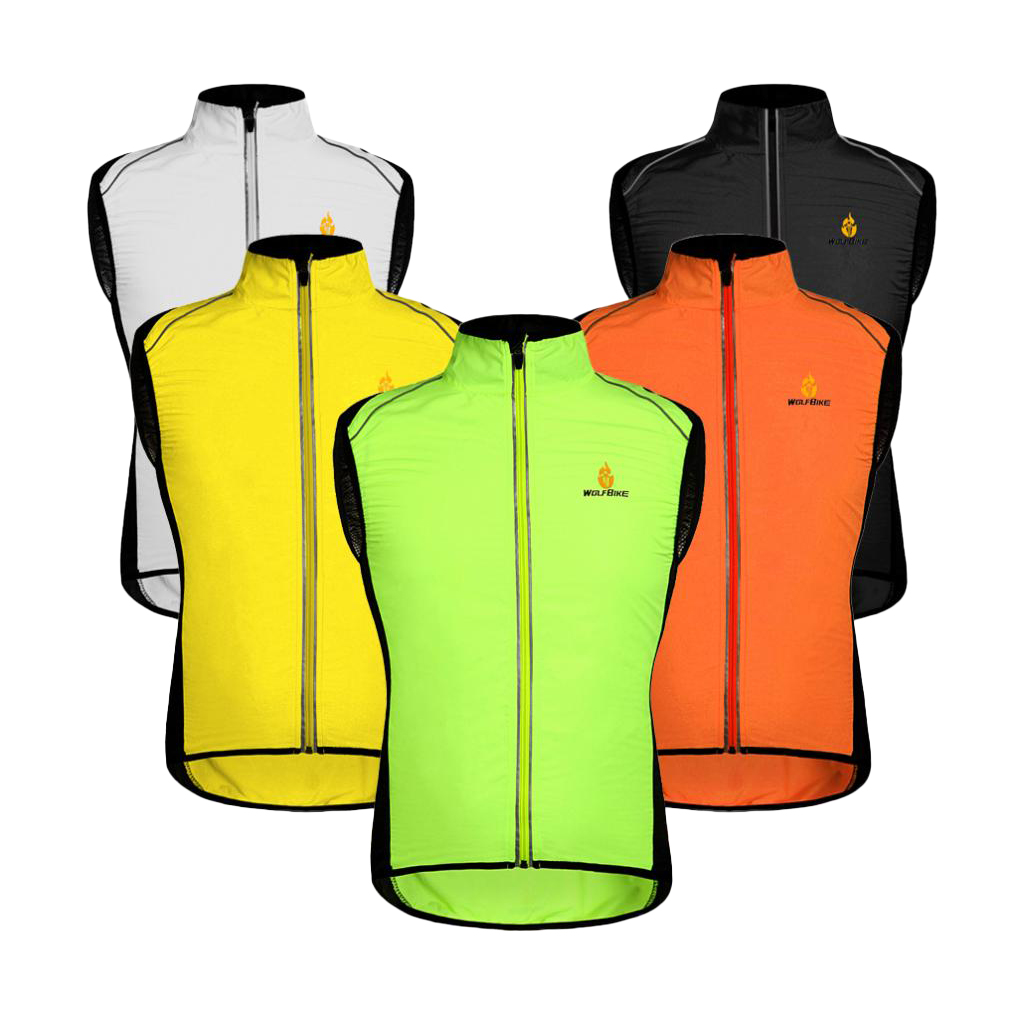 Unisex Reflective Safety Vest Windbreaker For Night Cycling MTB Road Mountain Bike Riding Running Hiking Fishing