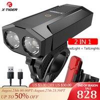 Juego de luces delanteras para bicicleta de X-TIGER, lámpara LED recargable vía USB de 5200mAh, resistente al agua, faro trasero