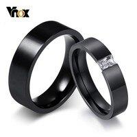 Vnox-alianzas de boda para parejas, anillos de acero inoxidable negro para Mujeres Hombres chico chica, accesorios de fiesta