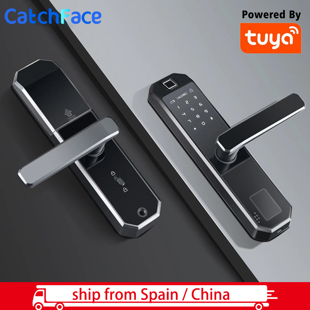 Tuya App Fingerprint Door Lock  Wifi Code Card Key Touch Screen Smart Door Lock Security Digital Electronic Lock Ship From Spain