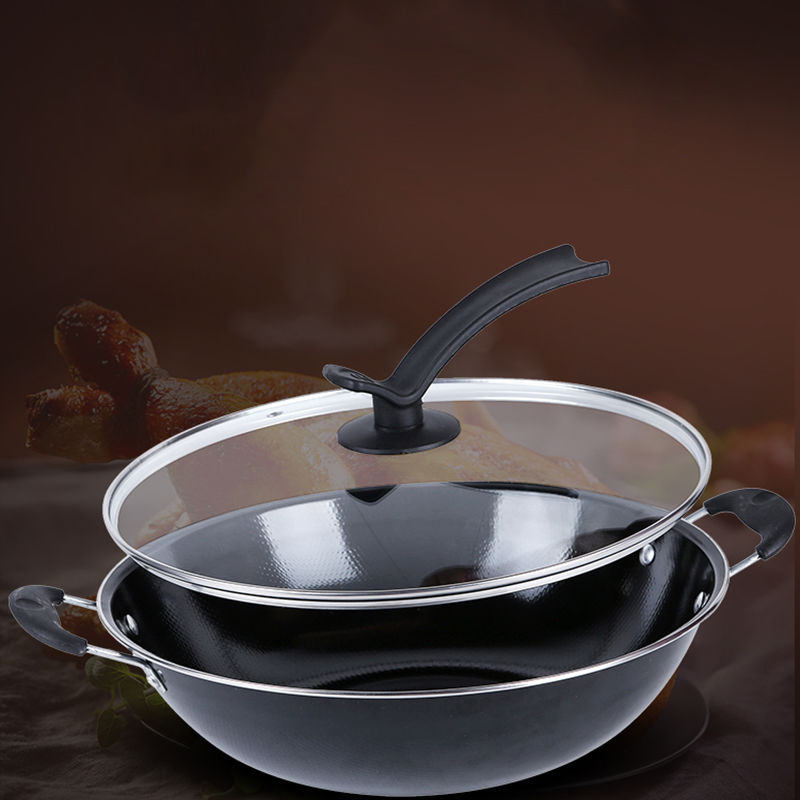 Uncoated Enamel Non-Stick Induction Wok Pan 5