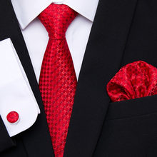 New Red Tie Silk Woven Men Tie Necktie Hanky Cufflinks Set Luxury Men's Party Corbatas Office Gravatas