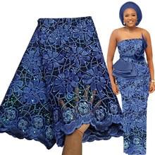 Bestway afryki koronki tkaniny 5 metrów 2021 wysokiej jakości cekinowa siateczka haft ślub nigeryjski suknia materiał francuski koronki tkaniny