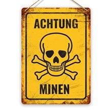 Achtung Minen! -Metall Wand Zeichen Plaque Kunst-Soldaten Armee Reenactment Replik (Besuchen Unserem Speicher, mehr Produkte!!!)