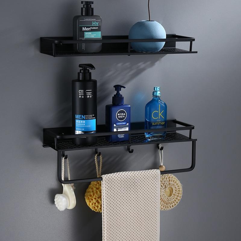 Bathroom Shelf  With Towel Bar Wall Mounted Aluminum Bath Shower Shelf Black Bath Shampoo Holder Basket Holder Corner Shelf