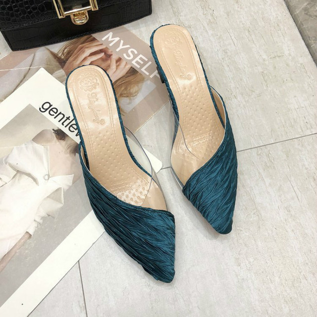 Summer Sandals Pointed Toe Mixed Color Slippers Middle Heels Ladies Outside Wear Half Slippers Women Comfortable Women Sandals