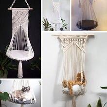 Tapiz colgante de pared tejido a mano, hamaca de encaje para gato y mascota, jaula para cama, columpio para sala de estar, decoración del hogar solo para mascotas