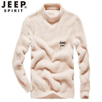 JEEP SPIRIT Winter Sweater Men Smart Casual Fashioin O-neck Warm Men's Sweater Korean Clothes Pullover Sweater Men Pull Homme