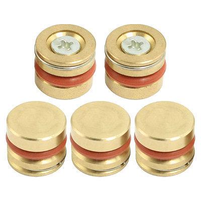 Gold Tone Orange Metal 16mm Diameter Brass Pressure Plug 5 Pcs Connectors     - title=