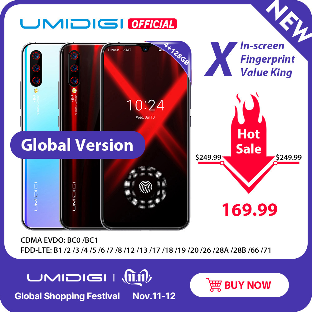 Globale Version UMIDIGI X In-bildschirm Fingerprint 6,35 AMOLED 48MP Triple Hinten Kamera 128GB NFC Helio P60 4150mAh Handy