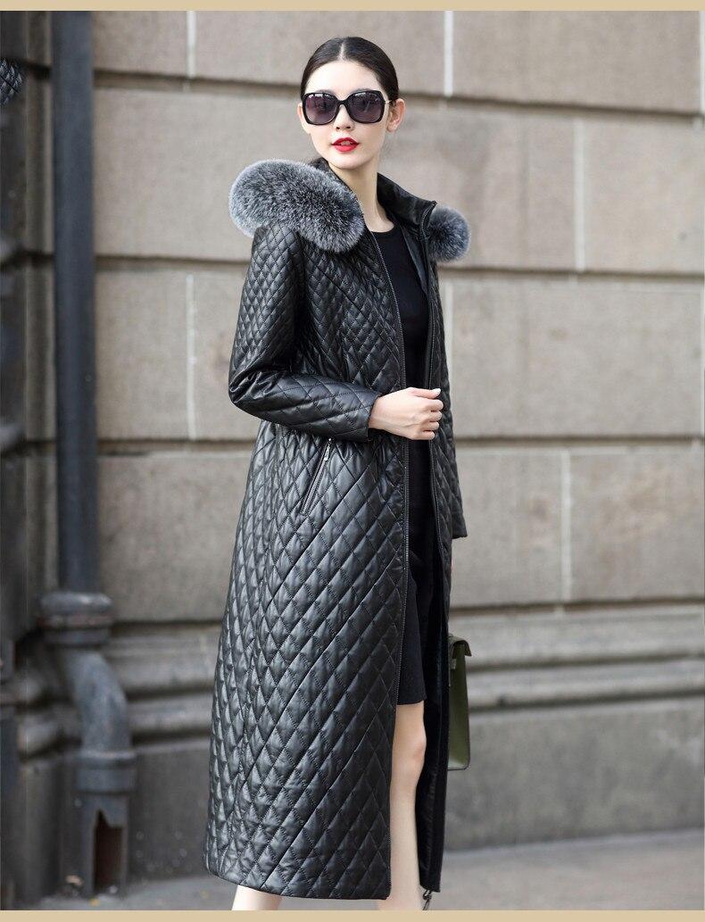 Jacket Winter 2020 Women Genuine Sheepskin Coat Long Warm Leather Jacket Fox Fur Collar Cotton Padded Outerwear FXH6077B