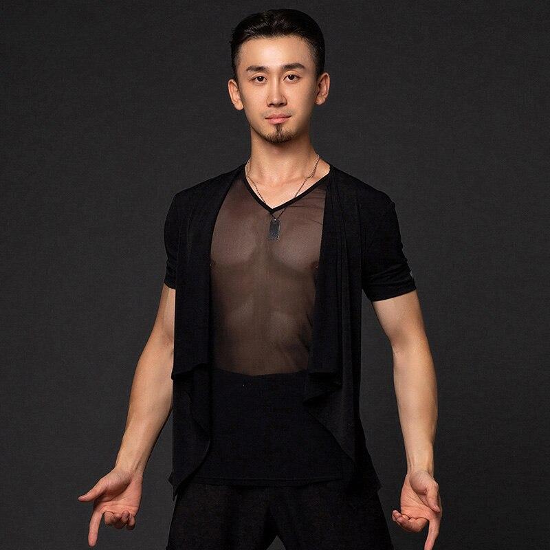 Latin Dance Costumes Men'S Mesh Blouse Short Sleeve Dance Dress Adult Modern Latin Dance Tops Shirts Performance Wear DQS2859